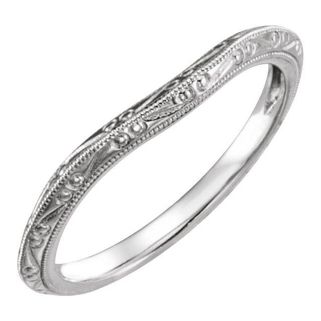 14K White Design-Engraved Band for 5.2 mm Engagement Ring