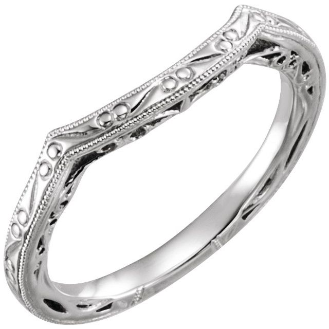 14K White Vintage-Inspired Matching Band for 6.5 mm Round Ring