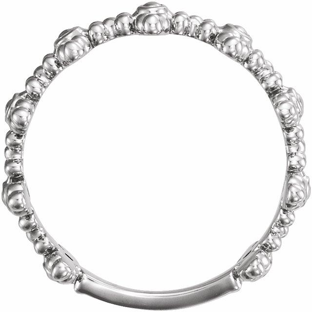 14K White Beaded Cross Ring