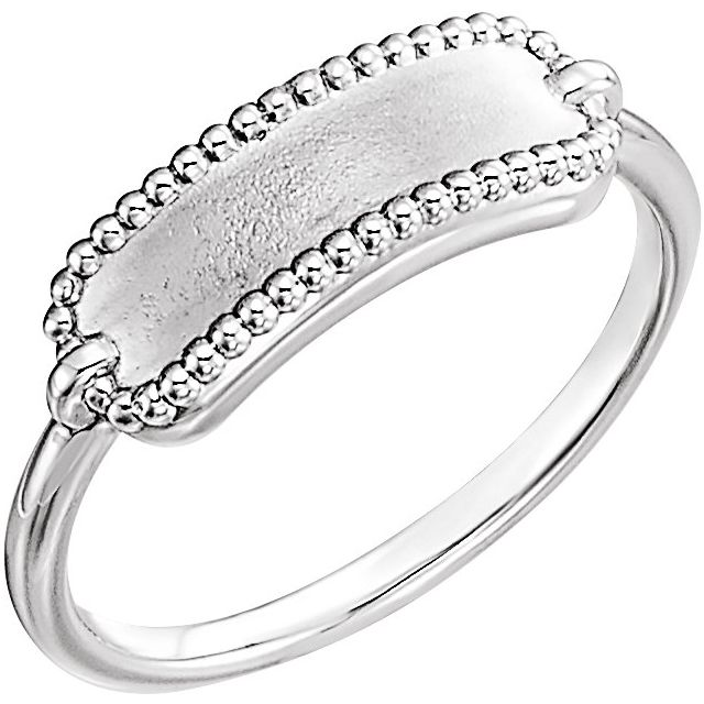 Sterling Silver 15x6 mm Rectangle Beaded Signet Ring