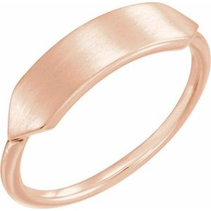 14K Rose 19.7x5 mm Geometric Signet Ring