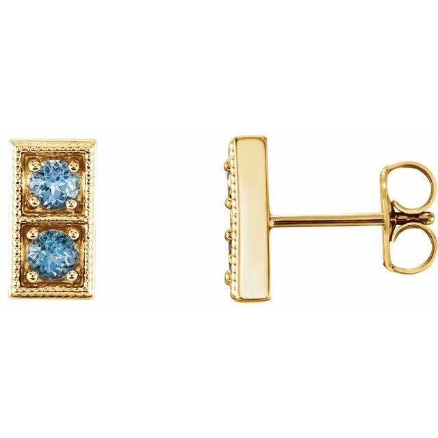 14K Yellow Aquamarine Two-Stone Earrings