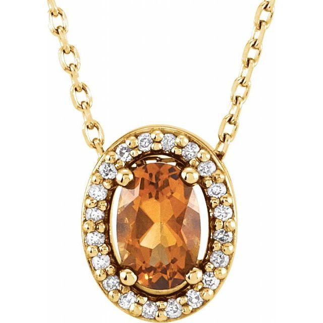 14K Yellow Citrine & .05 CTW Diamond 16