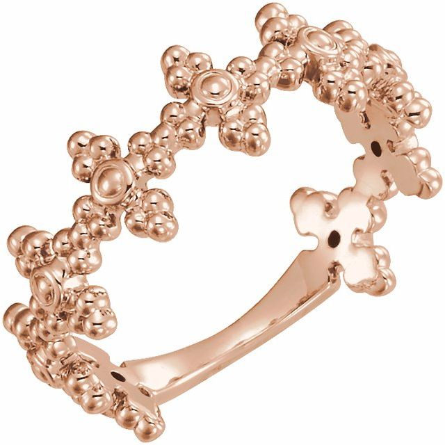 14K Rose Beaded Cross Ring