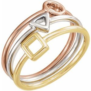 14K White/Yellow/Rose Geometric Stackable Rings