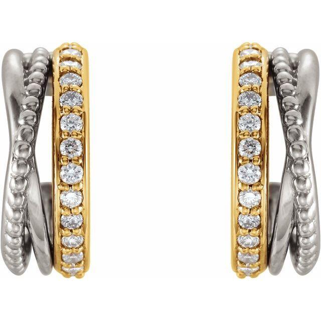 14K Yellow/White 1/5 CTW Beaded Hoop Earrings