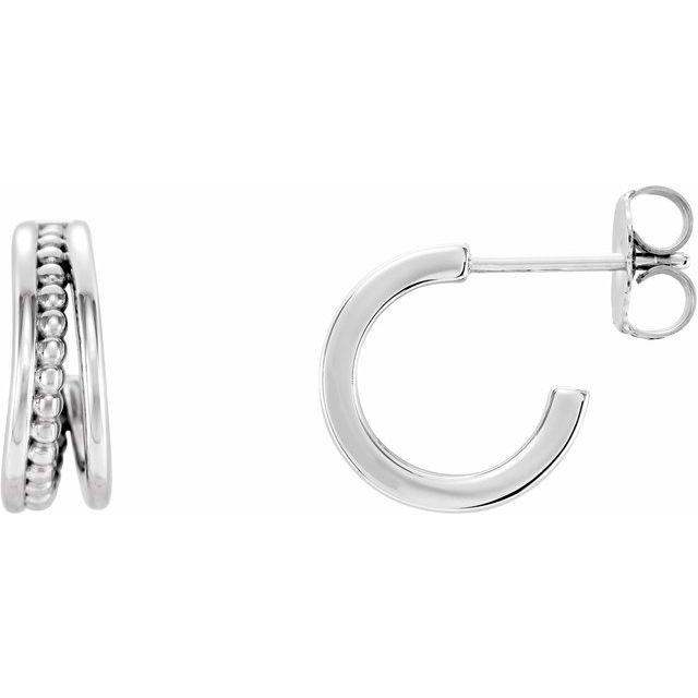 14K White Beaded Hoop Earrings