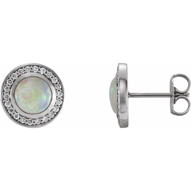 14K White 5 mm Opal & 1/6 CTW Diamond Halo-Style Earrings