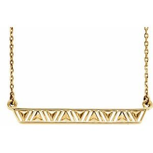 """14K Yellow Triangle Bar 16-18"""" Necklace"""