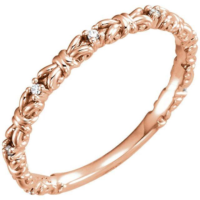 14K Rose .04 CTW Diamond Stackable Ring
