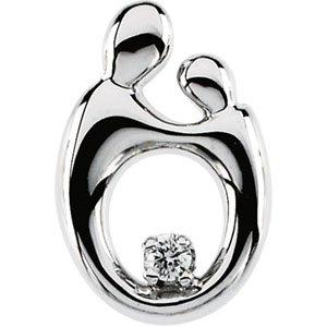 14K White .03 CT Diamond Mother and Child® Slide Pendant