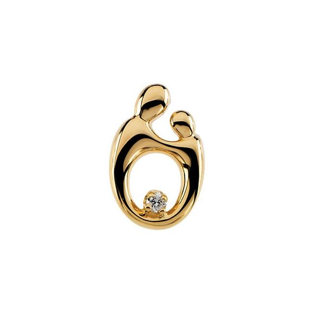 14K Yellow .03 CT Diamond Mother and Child® Slide Pendant