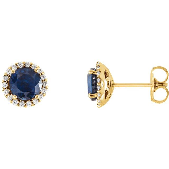 14K Yellow Chatham® Lab-Created Blue Sapphire & 1/6 CTW Diamond Earrings