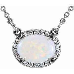 "14K White Opal & .07 CTW Diamond Halo-Style 16 1/2"" Necklace"