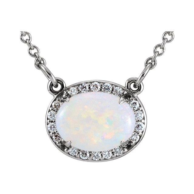 14K White Opal & .07 CTW Diamond Halo-Style 16 1/2