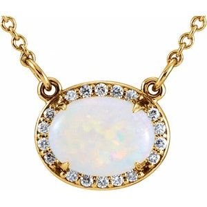 "14K Yellow Opal & .07 CTW Diamond Halo-Style 16 1/2"" Necklace"