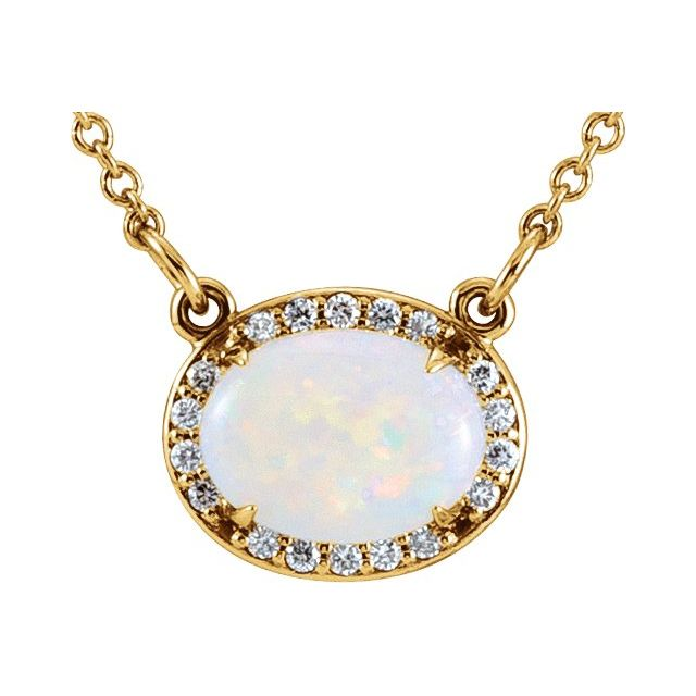 14K Yellow Opal & .07 CTW Diamond Halo-Style 16 1/2