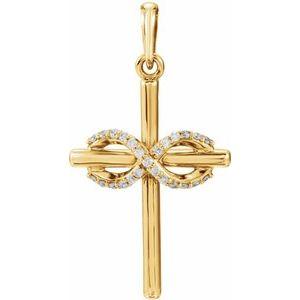 14K Yellow .06 CTW Diamond Infinity-Inspired Cross Pendant