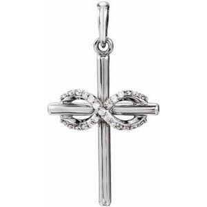 14K White .06 CTW Diamond Infinity-Inspired Cross Pendant