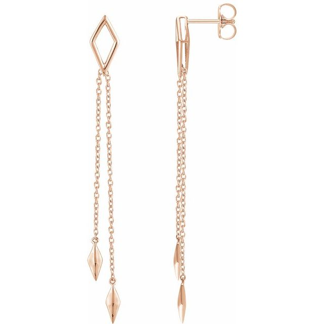 14K Rose Geometric Chain Earrings