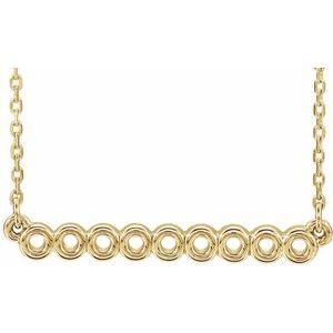 """14K Yellow Circle Bar 16""""-18"""" Necklace"""