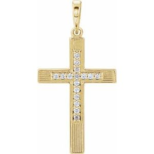 14K Yellow .08 CTW Diamond Cross Pendant