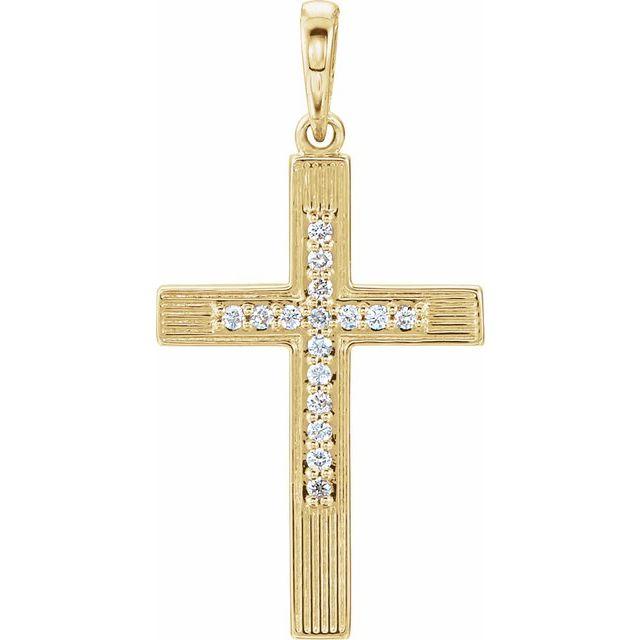 14K Yellow .07 CTW Diamond Cross Pendant