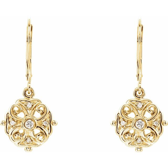 Diamond Filigree Dangle Lever Back Earrings