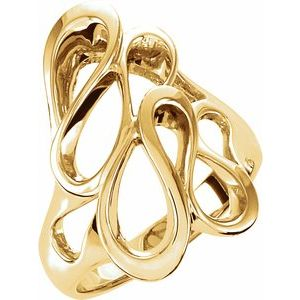 14K Yellow 22 mm Freeform Ring