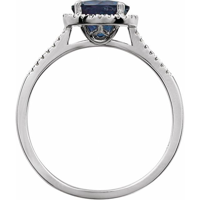 Sterling Silver Created Blue Sapphire & .01 CTW Diamond Ring