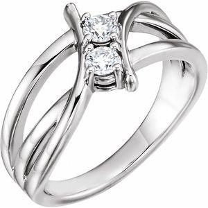 14K White 1/2 CTW Diamond Two-Stone Ring
