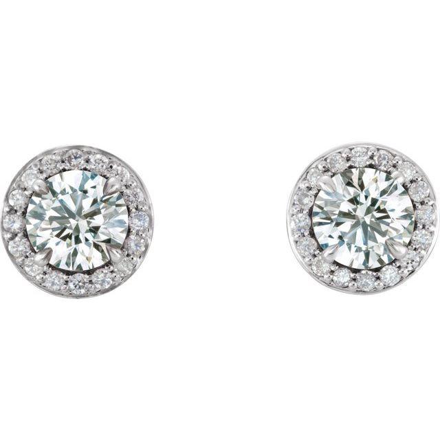 14K White 3/8 CTW Diamond Halo-Style Earrings