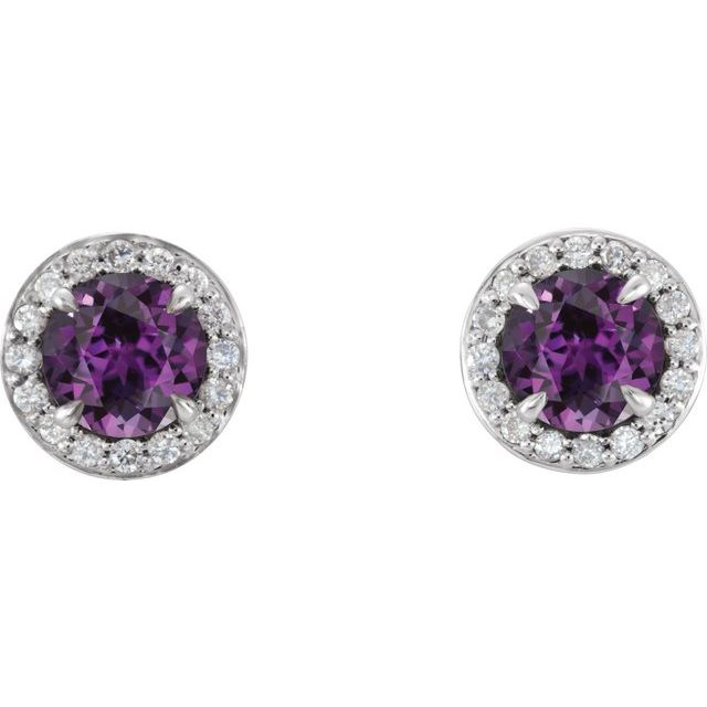 14K White 3.5 mm Round Chatham® Lab-Created Alexandrite & 1/8 CTW Diamond Earrings