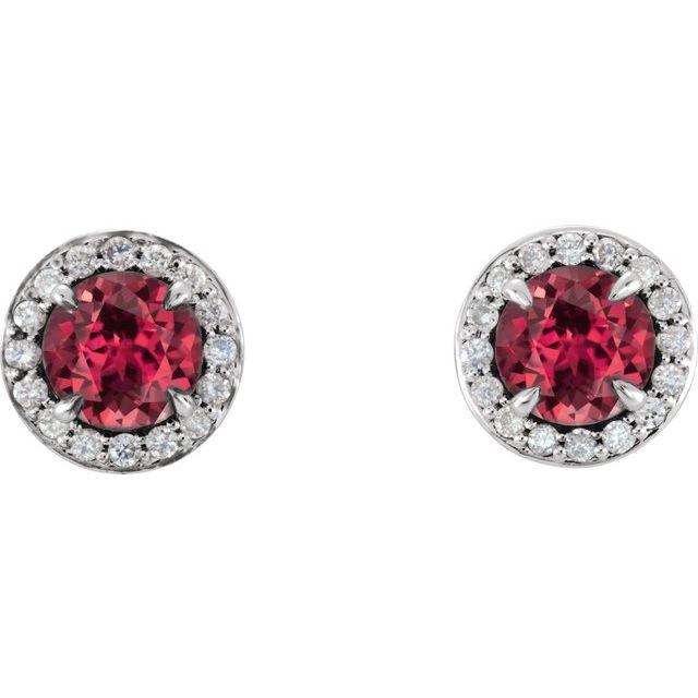 14K White 4.5 mm Round Lab-Grown Ruby & 1/6 CTW Diamond Earrings