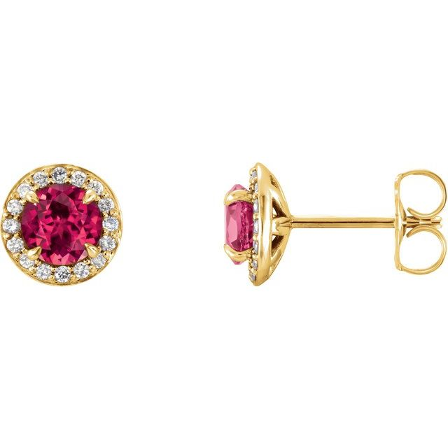14K Yellow 3.5 mm Round Lab-Grown Ruby & 1/8 CTW Diamond Earrings
