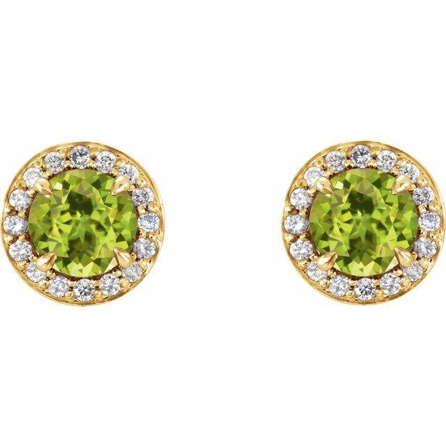 14K Yellow 5 mm Round Peridot & 1/8 CTW Diamond Earrings
