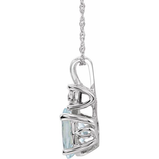 14K White Natural Aquamarine & .02 CT Natural Diamond 18