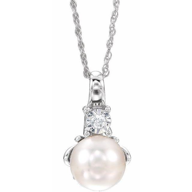 14K White Freshwater Cultured Pearl & .02CTW Diamond 18