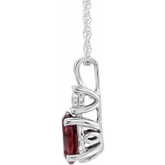 14K White Mozambique Garnet & .02CTW Diamond 18