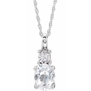 "14K White Created White Sapphire & .02 CTW Diamond 18"" Necklace"