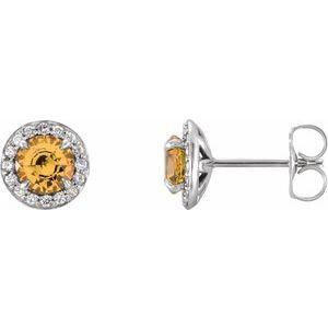 14K White 5 mm Round Citrine & 1/8 CTW Diamond Earrings