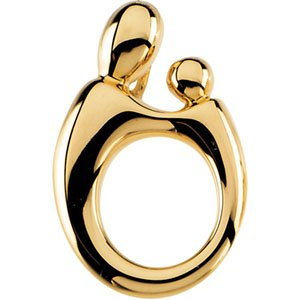 14K Yellow 20.25x13.5 mm Mother and Child® Slide Pendant