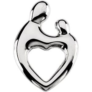 14K White 19.25x13.5 mm Mother and Child® Heart Pendant