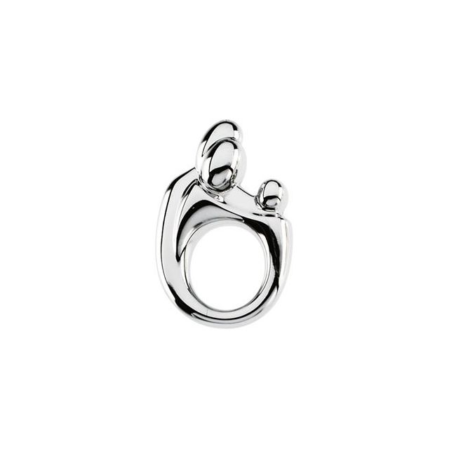 Sterling Silver 20.5x13.5 mm Mother and Child® Slide Pendant