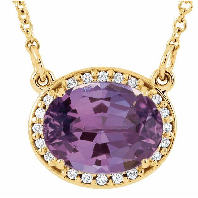 14K Yellow Amethyst & .05 CTW Diamond 16.5