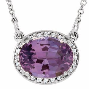 "14K White Amethyst & .05 CTW Diamond 16.5"" Necklace"