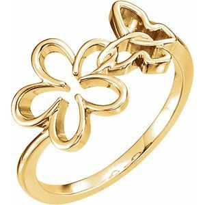 14K Yellow Floral-Inspired & Butterfly Ring