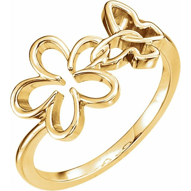 Sterling Silver Floral-Inspired & Butterfly Ring
