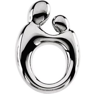 Sterling Silver 14.5x9.8 mm Mother and Child® Slide Pendant