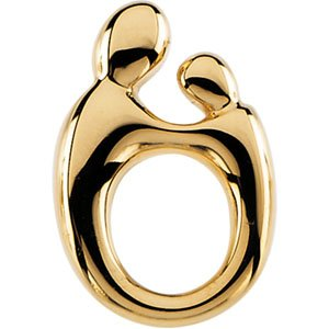 14K Yellow 14.5x9.8 mm Mother and Child® Slide Pendant